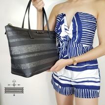 NWT Kate Spade New York HANI Haven lane Tote Bag Handbag Stripe Black grey  - £76.73 GBP