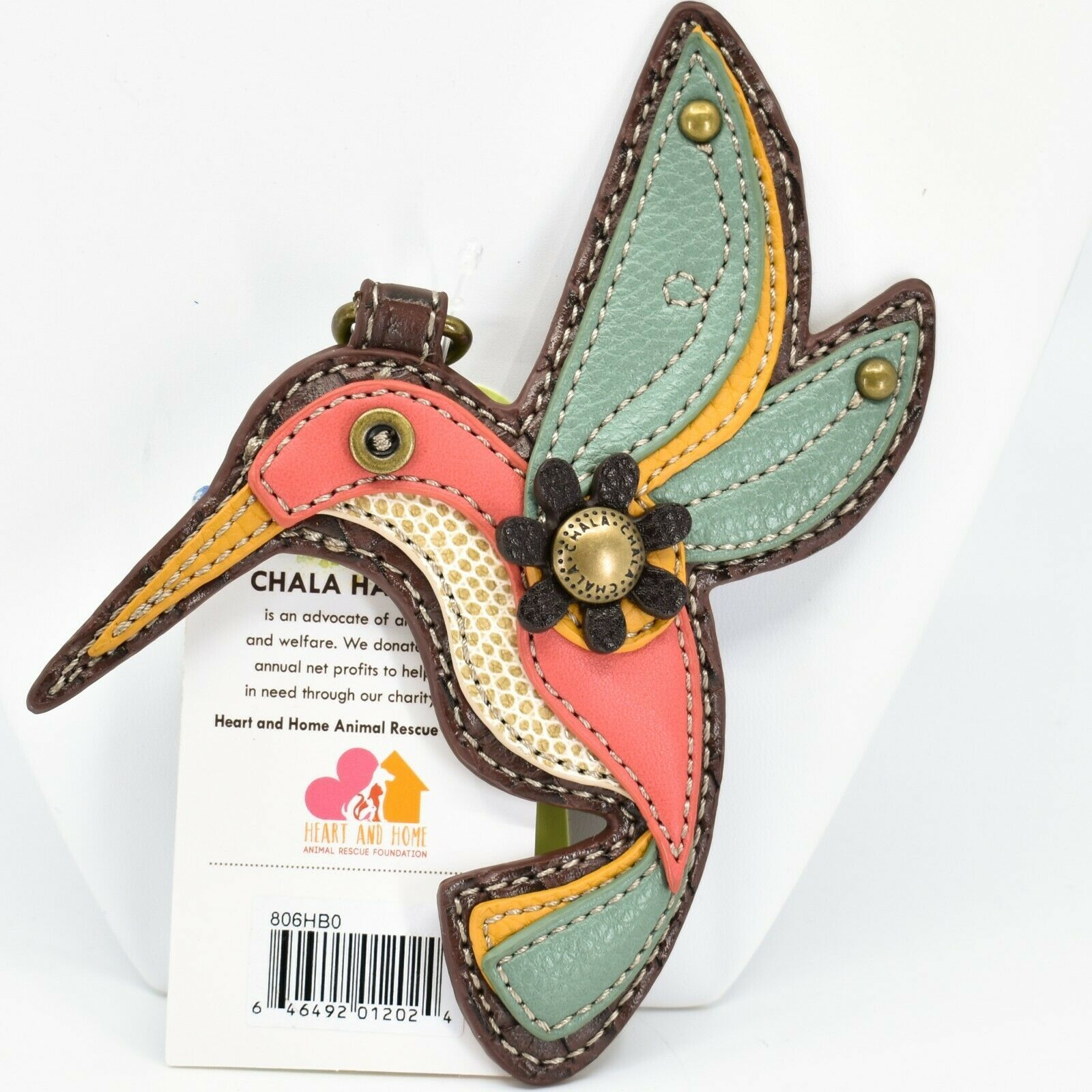 Chala Handbags Faux Leather Whimsical Hummingbird Charm Key Chain Keychain