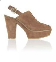 Michael Kors Camel suede clogs mules heels Chunky Booties 6.5 women shoes - $33.62