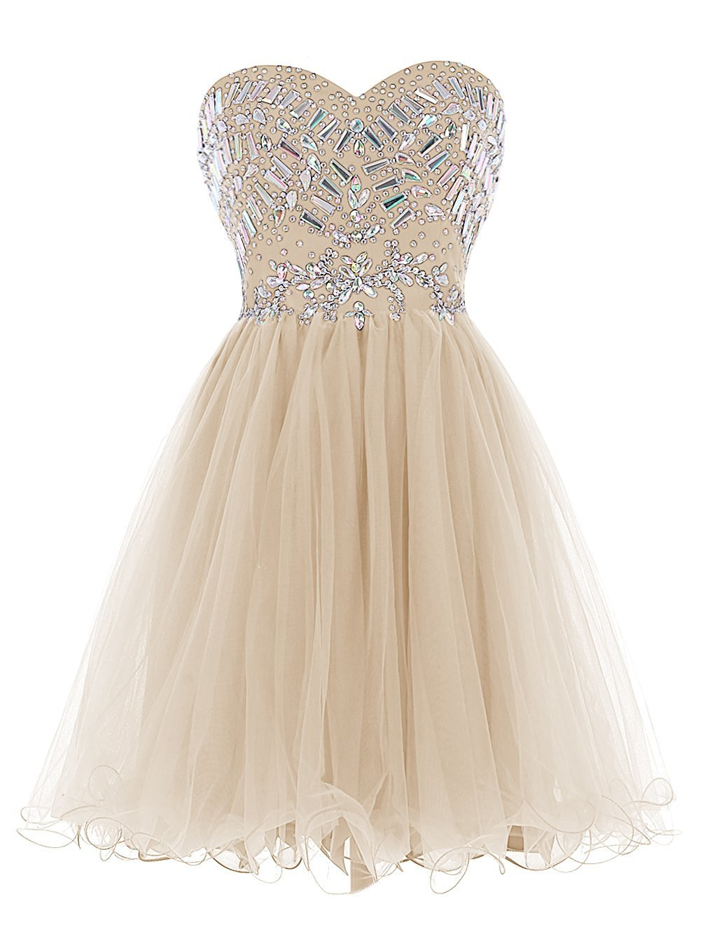 Women's Short Sweetheart Beaded Prom Dress Tulle Homecoming Dress Cocktail Gowns