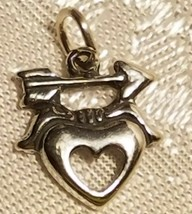 ARROW AND HEART STERLING SILVER CHARM 12X11MM