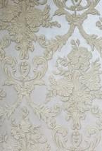 3-D Look Cream Damask on Silver Faux Formal Albert Van Luit Wallpaper VL211131 - $30.09
