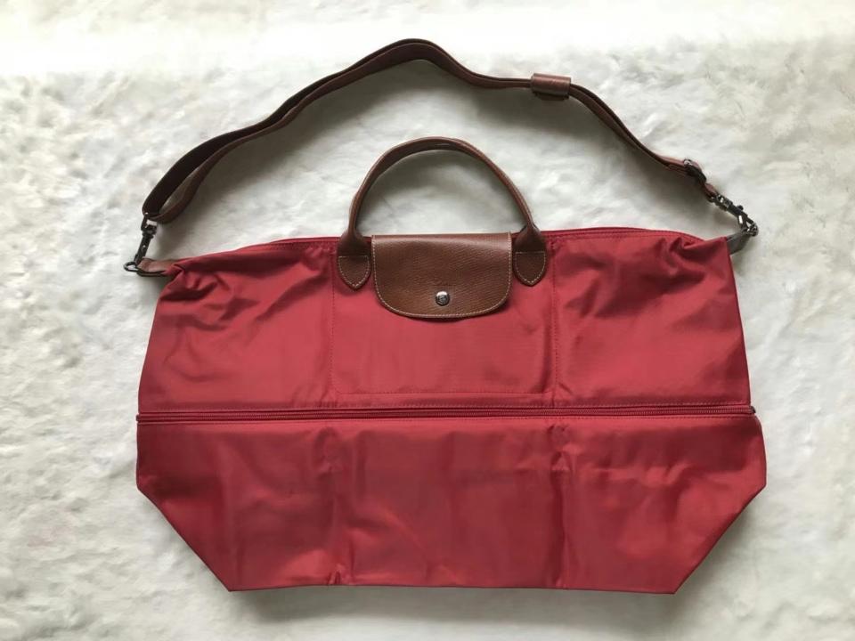 Longchamp Expandable Le Pliage Travel Bag Duffel Tote Deep Red Auth