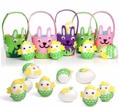 Easter Basket Handmade Felt Craft Easter Decoration DIY Eggs Bunny Ornam... - $5.60