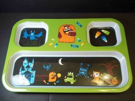 Divided 3 part melamine tray serving platter Halloween theme candy corn ... - $7.95