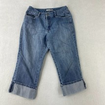 Chico's Platinum Cropped Jeans Womens 1/8 Blue Rolled Cuff Mid Rise Stre... - $18.95