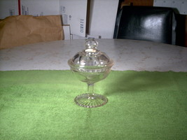 Vintage Clear Glass Pedestal Candy Dish with Lid - $25.00