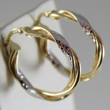 18K YELLOW WHITE GOLD TWISTED EARRINGS WORKED HOOPS HOOP 25 MM MADE IN ITALY image 2