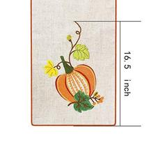 Grelucgo Halloween and Thanksgiving Holiday Table Runners, Fall Autumn Harvest D image 5
