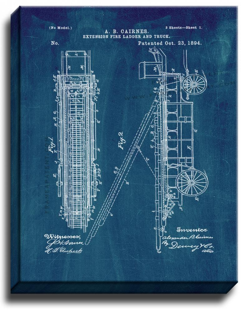 Primary image for Cairnes Extension Fire-ladder And Truck Patent Print Midnight Blue on Canvas
