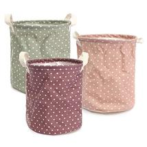 23*26cm Cotton Linen Storage Clothes Basket Laundry Hamper Daily Stuff Bag - $21.47