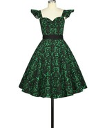 Black Emerald Green Rockabilly Retro Floral Swing Dress Vintage 50s Pin ... - $53.46