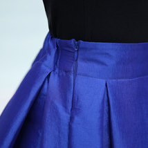 Lady PLEATED Ruffle MIDI Skirt Taffeta Midi Pleated Holiday Skirt-Blue,Plus Size image 7