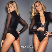Sexy Women Sheer Long Sleeve See-through Bodysuit Black Jumpsuit Patchwo... - $25.50