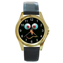 Halloween Funny Face Candy Corn GOLD-TONE Watch, Leather Band, New! - $25.99