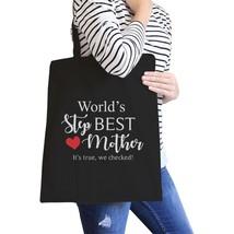 World's Best Stepmother Black Canvas Shoulder Bag Gift For Stepmoms - $15.99