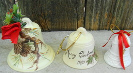 Handpainted Pine Cone Holly Ceramic Bell Ornaments - $12.99