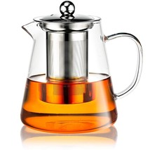 Premium Glass Teapot with Stainless Steel Removable Infuser & Lid, Tea S... - £50.95 GBP