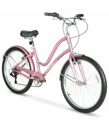 "Women's 26"" Comfortable Commute Lightweight Bike, 7-Speed, Rose Gold - $264.55"