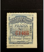 1893 Western Union Telegraph Company, Frank Stamp, Blue Scott 16T23 Used - $8.99