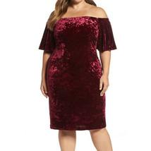 Eliza J Women's Plus Off-Shoulder Velvet Sheath Dress, Wine, 24W - $69.29
