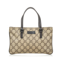 Pre-Loved Gucci Brown Beige Coated Canvas Fabric GG Supreme Handbag Italy - $302.94