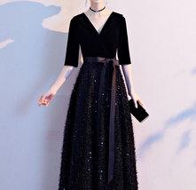 Women Half Sleeve Velvet Maxi Dress High Waist Formal Dress, Black, Plus Size image 13