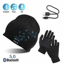 AYPOW Bluetooth Beanie with Touchscreen Gloves Set, Winter Warm (Dark Grey) - $20.49