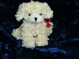 "Plushland Stuffed Plush Cream Ivory Small Puppy Dog Fluffy Red Collar 6""... - $59.39"