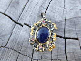 Empowering Crystals Sapphire Floral Twig Sterling Silver Pendant Boho In... - $27.51