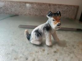 Vintage Porcelain Fox Terrier Dog Figurine Ceramic Dog Statue - $16.70