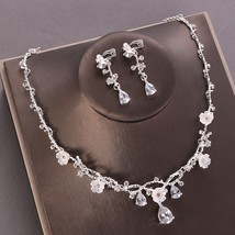 Silver Color Gold Necklace Earring Set Zircon Crystal Flower Clip On Ear... - $25.20
