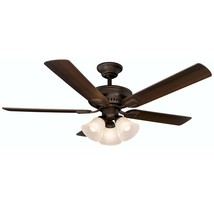 Hampton Bay Campbell 52 in. LED Indoor Mediterranean Bronze Ceiling Fan - £61.55 GBP