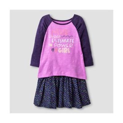 "NWT Cat & Jack 12 Months Purple ""Don't Under Estimate a Girl"" Top & Skirt Set"