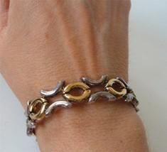 Vintage Link Bracelet Italy Kiss Hug  X O Sterling Silver Gold Vermeil P... - $39.59
