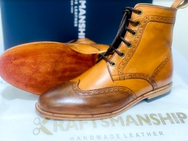 Handmade Men's Brown High Ankle Lace Up Wing Tip Leather Boot image 4