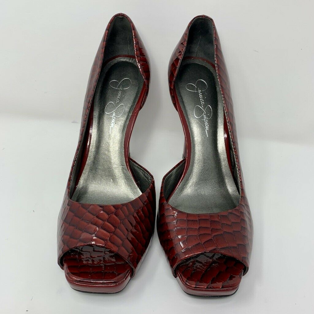 Jessica Simpson Womens Platform Heels, Size 8.5, Red, Peep Toe, Snake Pattern