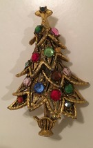 Vintage signed Hollycraft colorful Christmas Tree Pin - $29.50