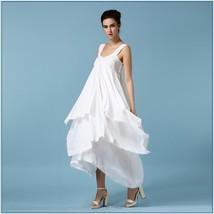 Bohemian Princess Chiffon Wedding Veil Gown, Lace Trim Layered Asymmetrical Hem  image 2
