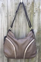 Giordano Made in Italy Taupe Brown Pebbled Leather Hobo Shoulder Bag Han... - $148.45