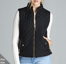 Black Plus Size Quilted Vest, Quilted Vest with Suede Piping, Black, Womens Plus