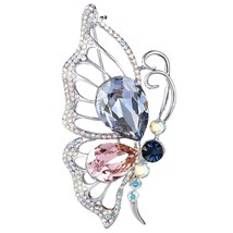 Women's Silver-tone Flying Butterfly Brooch Pin Multicolor Adorned with... - $76.84