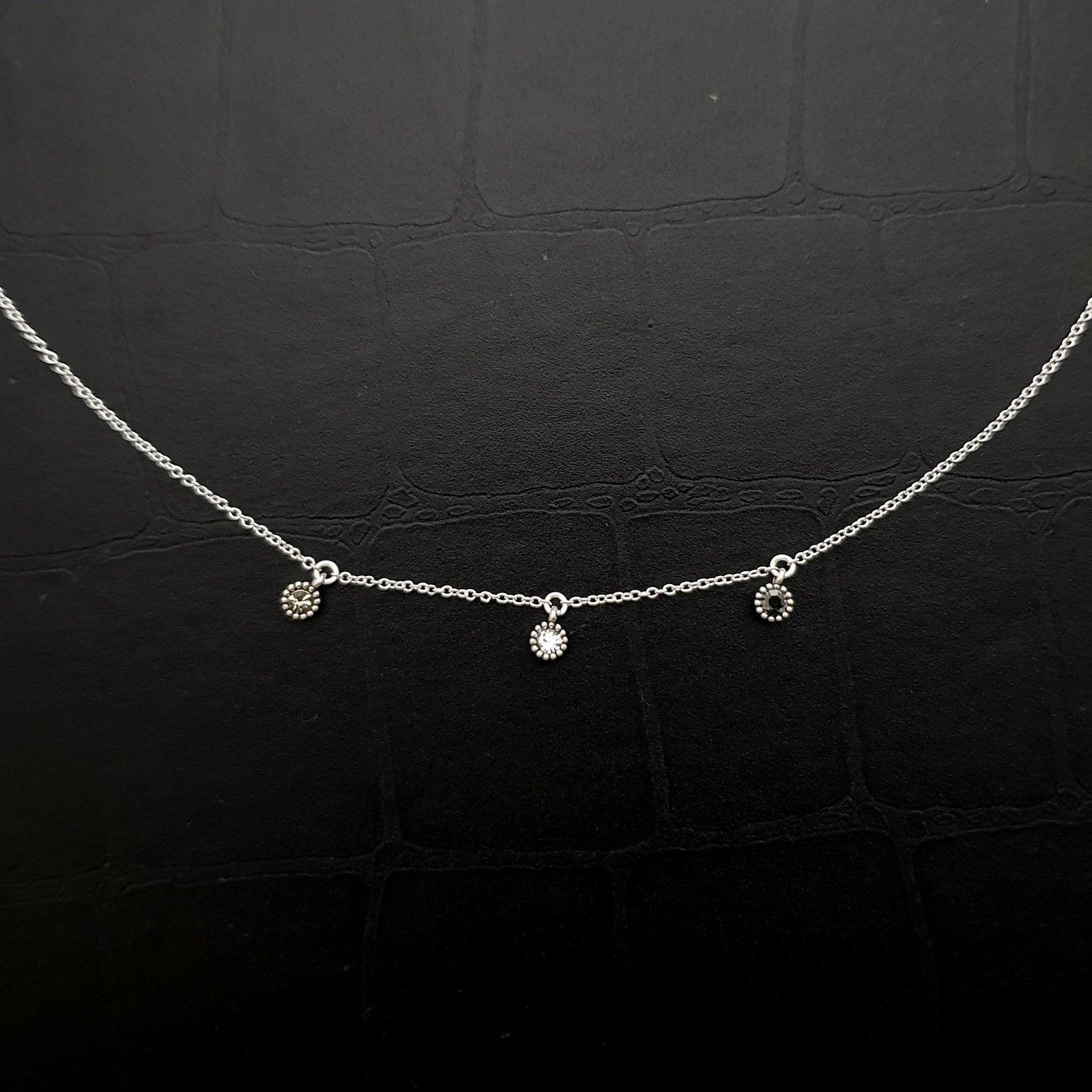 Tiny Three Circle Round Pendant Choker Necklace 925 Sterling Silver Rhinestone