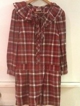 Juicy Couture Red Gray Plaid Long Sleeve Drop Waist Dress Size 2 - $20.95