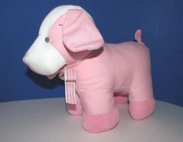 Russ Berrie plush pink baby dog rattle Denimal puppy denim toy ribbon ne... - $6.92