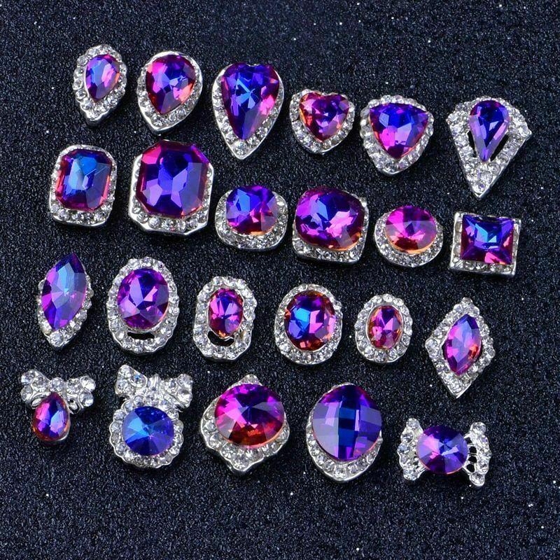 10Pcs 3D Charms Rainbow Crystal Diamonds Nail Art Rhinestones Glitter Decoration
