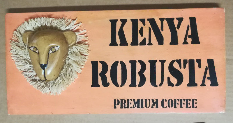 Kenya Robusta African Sign Wood Hand Painted Vintage Wall Art 39