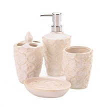 Fleur De Lis Porcelain Bath Accessory Set - £19.74 GBP