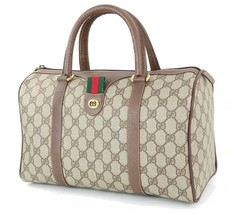 Authentic Vintage GUCCI Brown GG Canvas and Leather Boston Hand Bag #34080 - $395.00