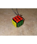 Miniature Rubik's Cube Charm Necklace Silver Wire Retro Toys Kids Clay Cube - $7.00